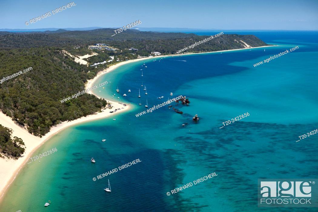 Stock Photo: Tangalooma Wrecks, Moreton Island, Brisbane, Australia.