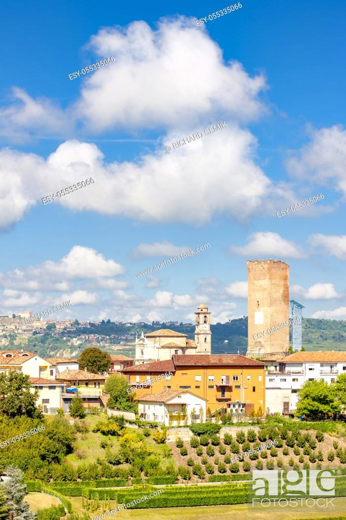 Stock Photo: Barbaresco village and vineyards, Unesco Site, Piedmont, Northern Italy.