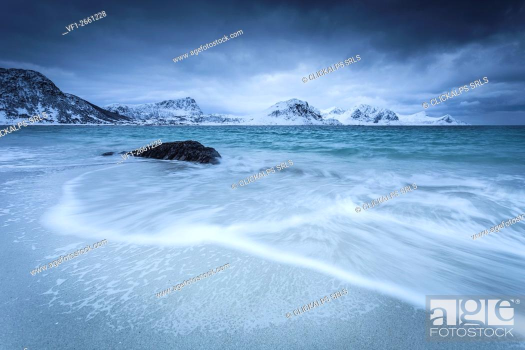 Stock Photo: Haukland beach, Lofoten Island, Norway.