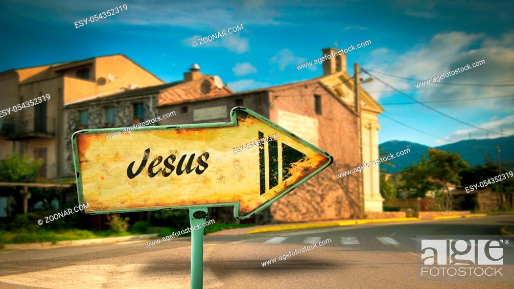 Stock Photo: Street Sign the Direction Way to Jesus.