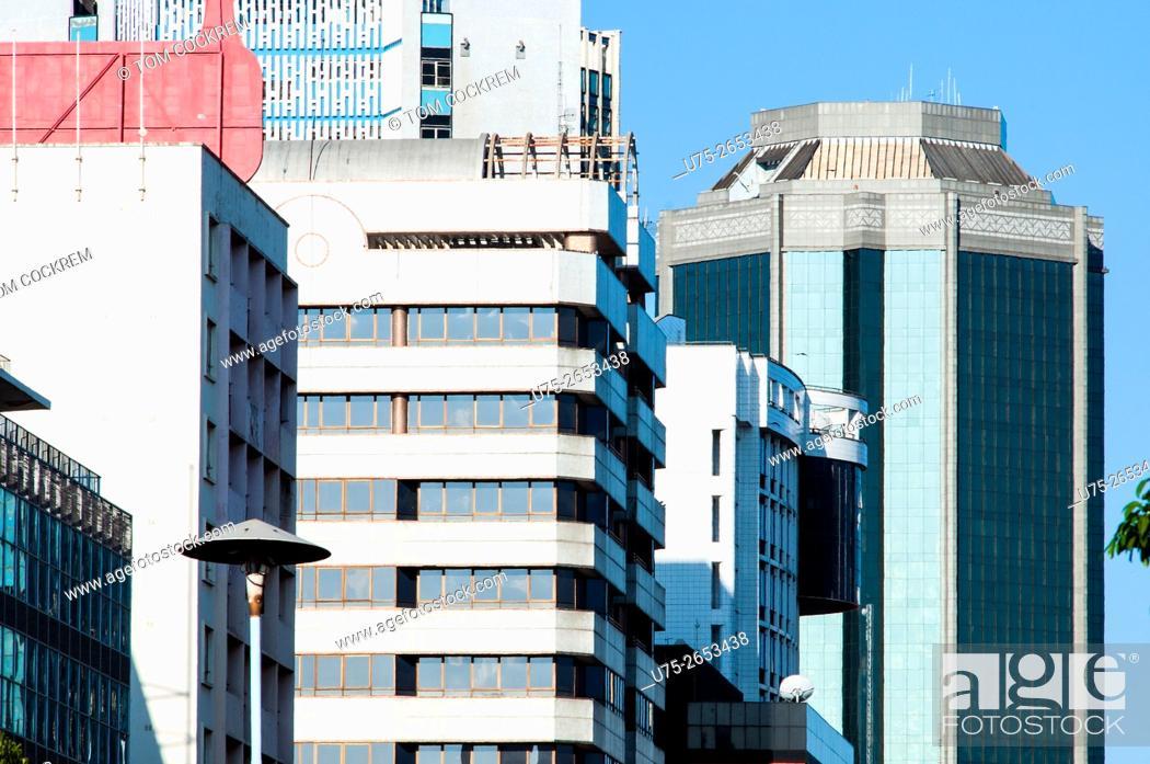 Stock Photo: Buildings in Samora Machel Avenue, CBD, Harare, Zimbabwe.