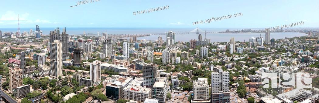Stock Photo: Aerial view of dadar , Bombay , Mumbai , Maharashtra , India.
