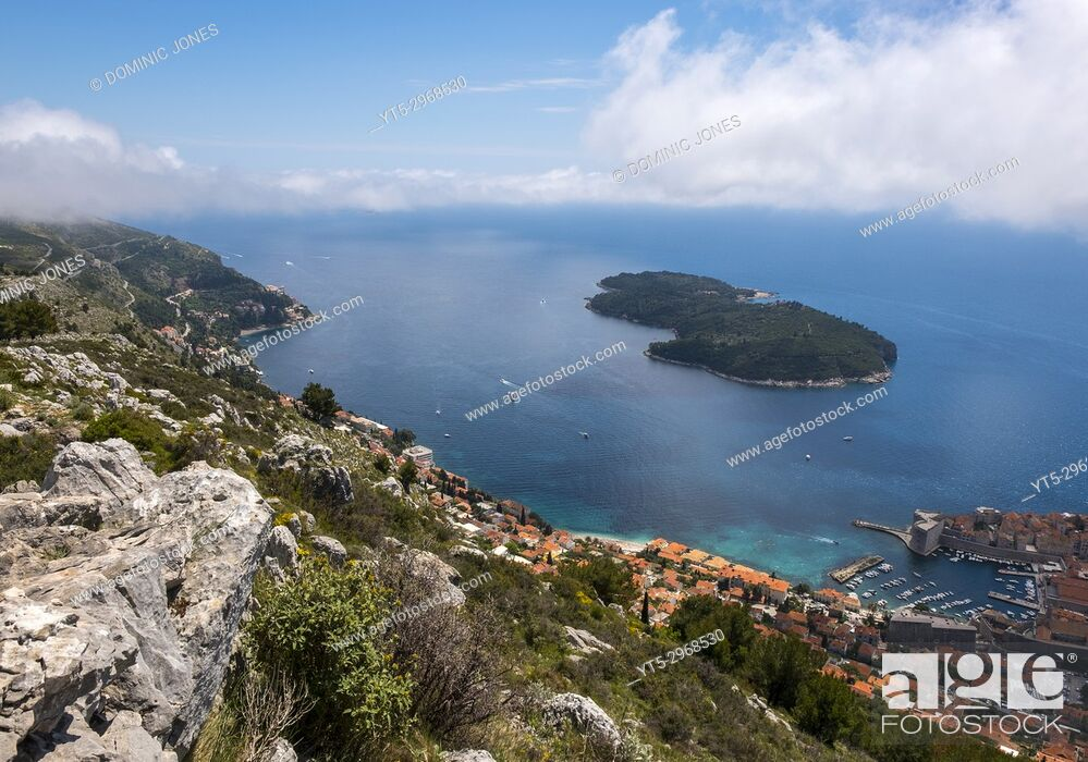 Stock Photo: The wooded island and nature reserve of Lokrum viewed from Mount Srd, Dubrovnik, Croatia, Europe.