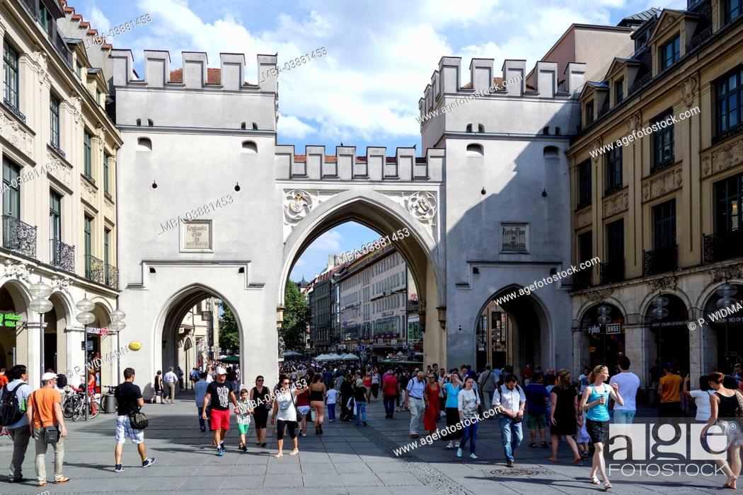 Stock Photo: Munich, Karlstor, Karlsplatz (square), Stachus, Bavaria, Germany.