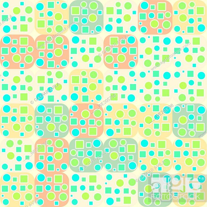 Vecteur de stock: Tiled geometric pattern made with squares and circles in light colors. Geometric graphic design.