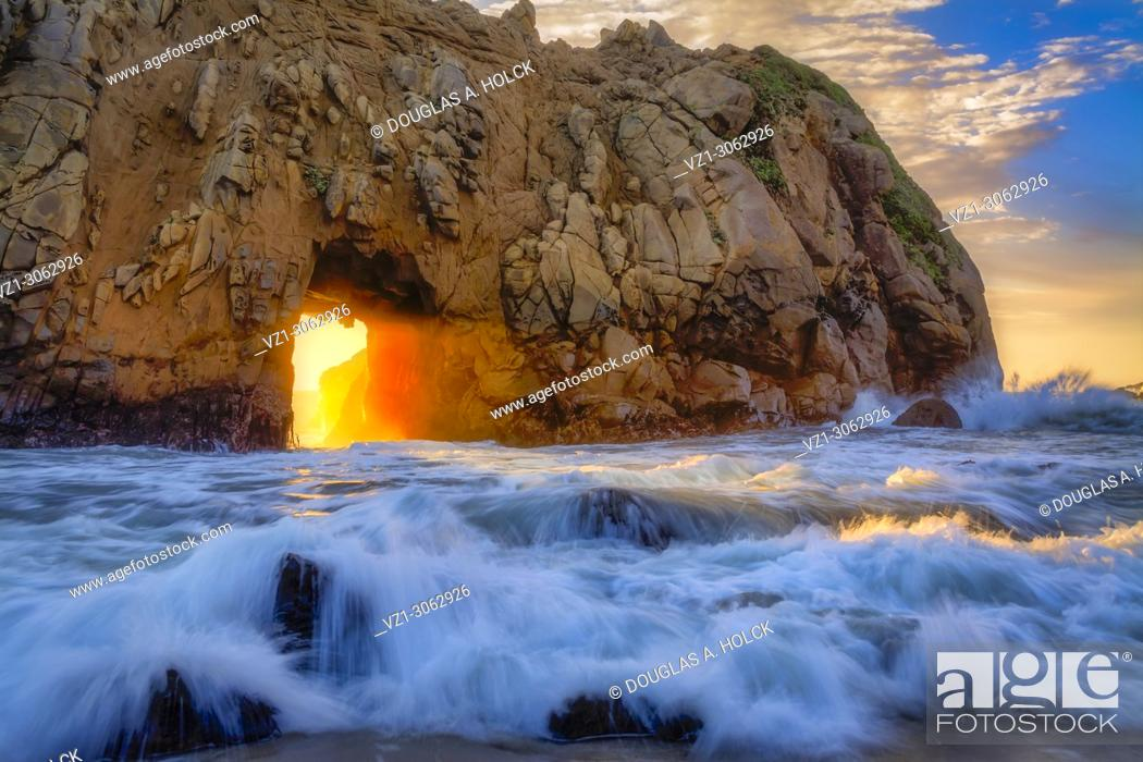 Stock Photo: Pfeiffer Beach Keyhole Flash of Light.
