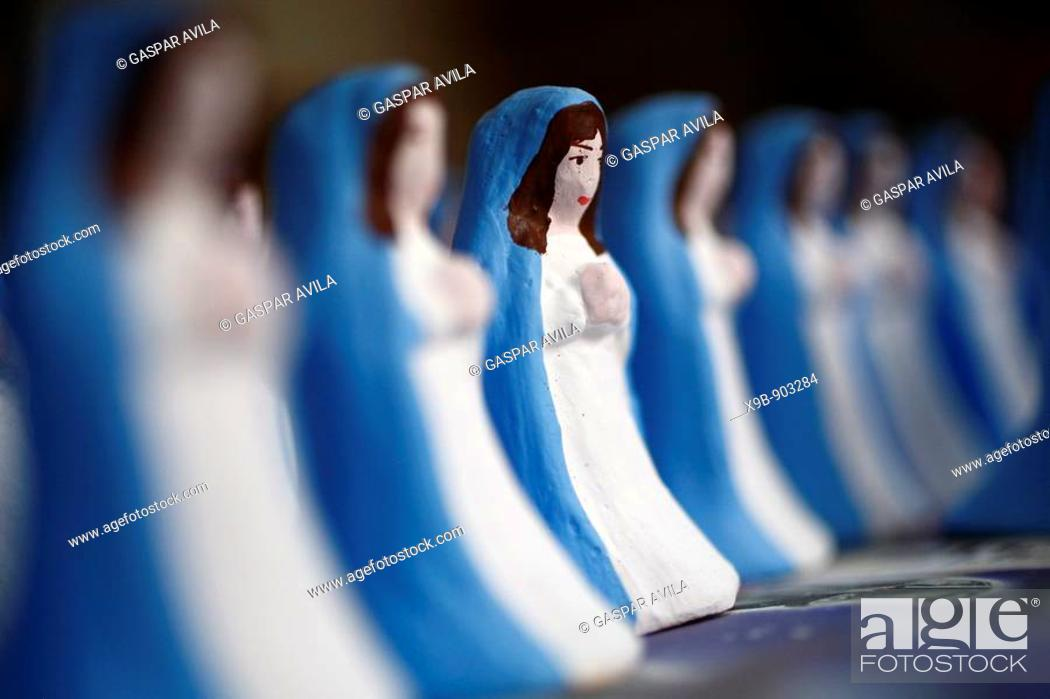 Stock Photo: Hand painted Virgin Mary figurines  Azores islands handicraft, made in Capelas, Sao Miguel island.