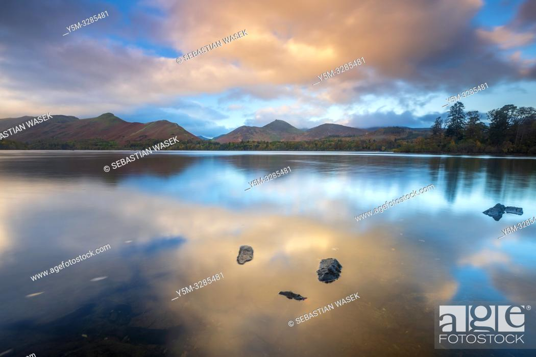 Stock Photo: Derwent Water, Keswick, Lake District National Park, Cumbria, England, UK, Europe.