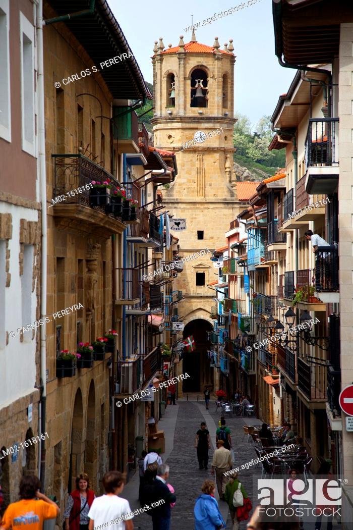 Stock Photo: Church of San Salvador, Getaria, Guipuzcoa, Basque Country, Spain.