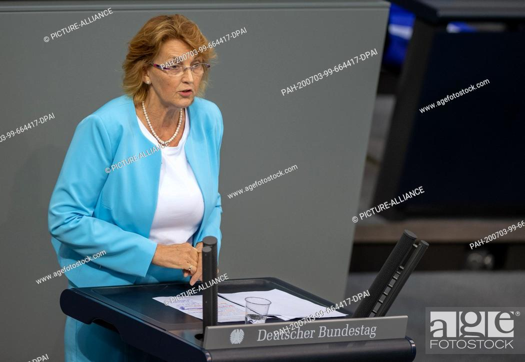 Stock Photo: 03 July 2020, Berlin: Susanne Mittag (SPD) speaks in the plenary session of the German Bundestag. The main topics of the 171st session of the 19th legislative.