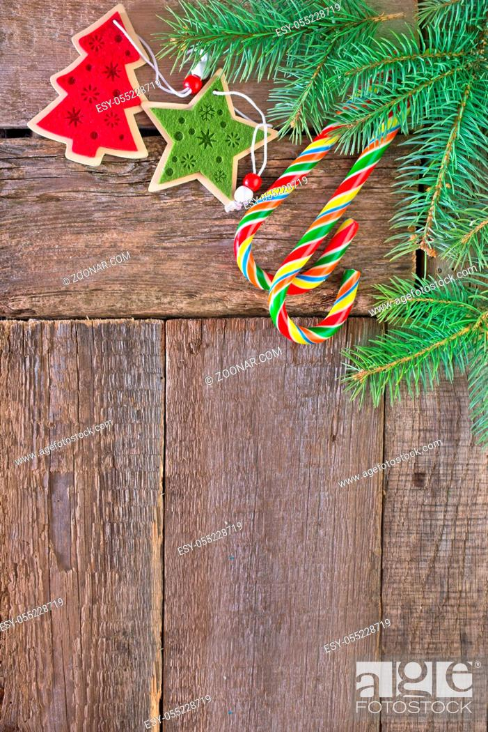 Brunch Of Christmas Tree And Color Candy On Wooden Background Stock Photo Picture And Low Budget Royalty Free Image Pic Esy 055228719 Agefotostock