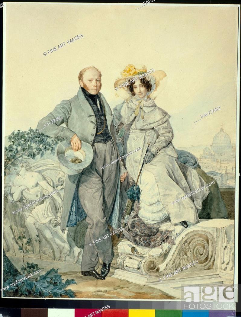Stock Photo: Portrait of Grigory Nikanorovich and Varvara Alexeyevna Olenin. Briullov, Karl Pavlovich (1799-1852). Watercolour on cardboard. Romanticism. 1827.
