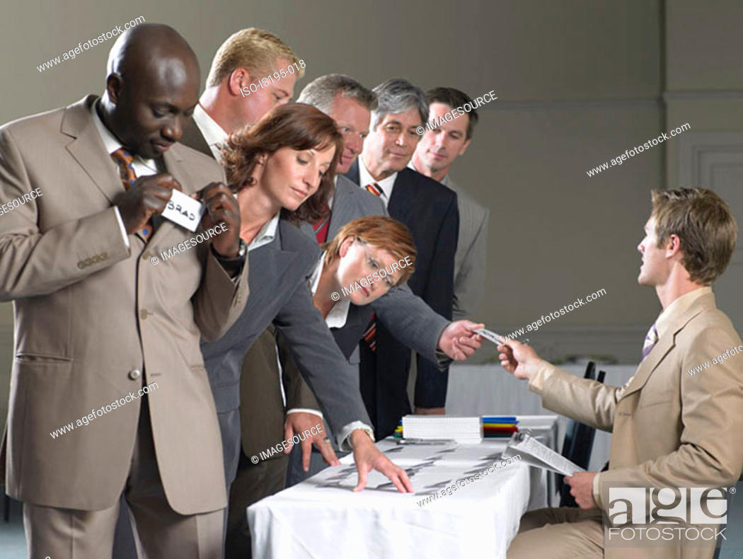 Stock Photo: Office workers with name tags.