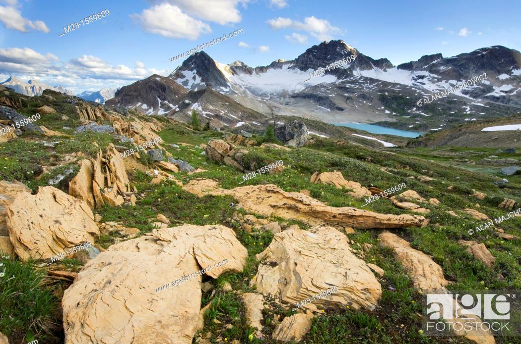 Stock Photo: Russell Peak and Limestone Lakes Basin, Height-of-the-Rockies Provincial Park British Columbia Canada.