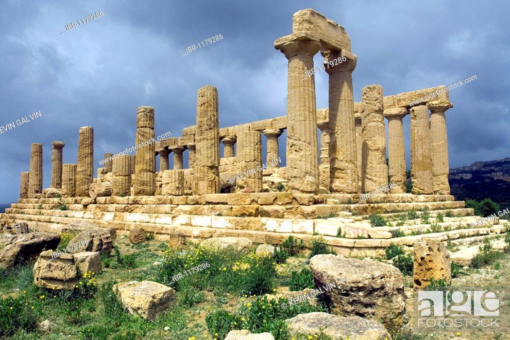 Stock Photo: Ancient Greek temple of Juno, Valley of the Temples Agrigento archaeological site, Sicily, Italy.
