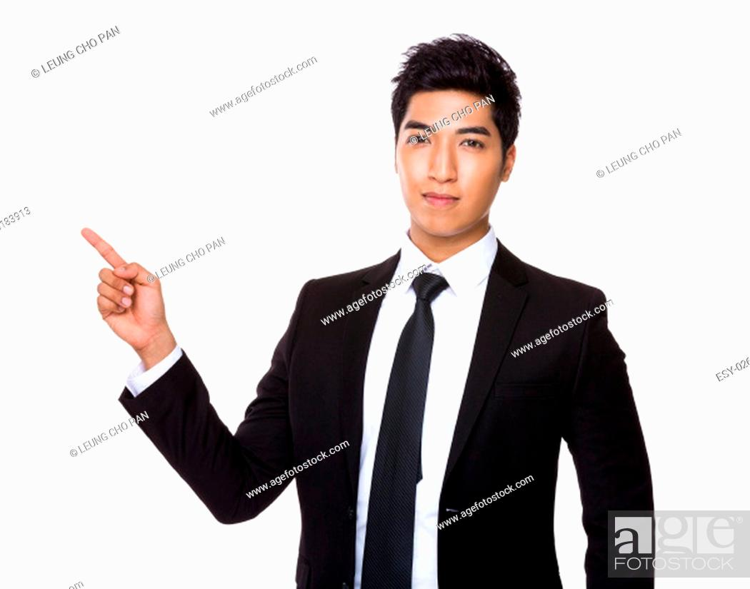 Stock Photo: Young businessman showing finger up.
