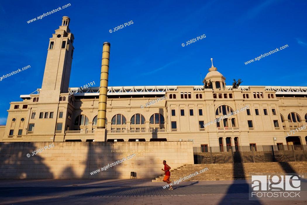 Stock Photo: Lluis Companys Olympic Stadium, Montjuic, Barcelona, Catalonia, Spain.