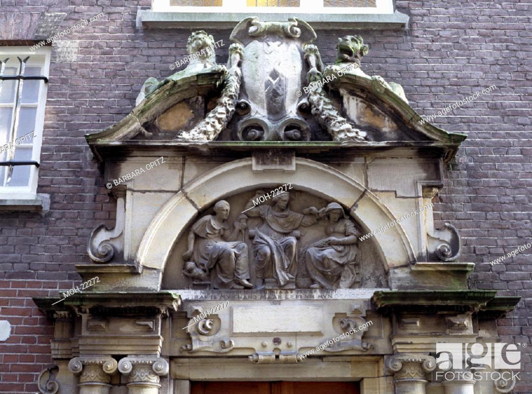 Amsterdam, Spinhuis/Relief über dem Eingang, Stock Photo, Picture
