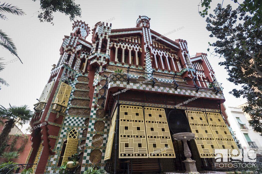 Stock Photo: Casa Vicens, 1885, by Antoni Gaudí. Barcelona.