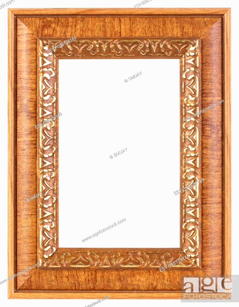 Stock Photo: Wooden photo frame isolated on white.