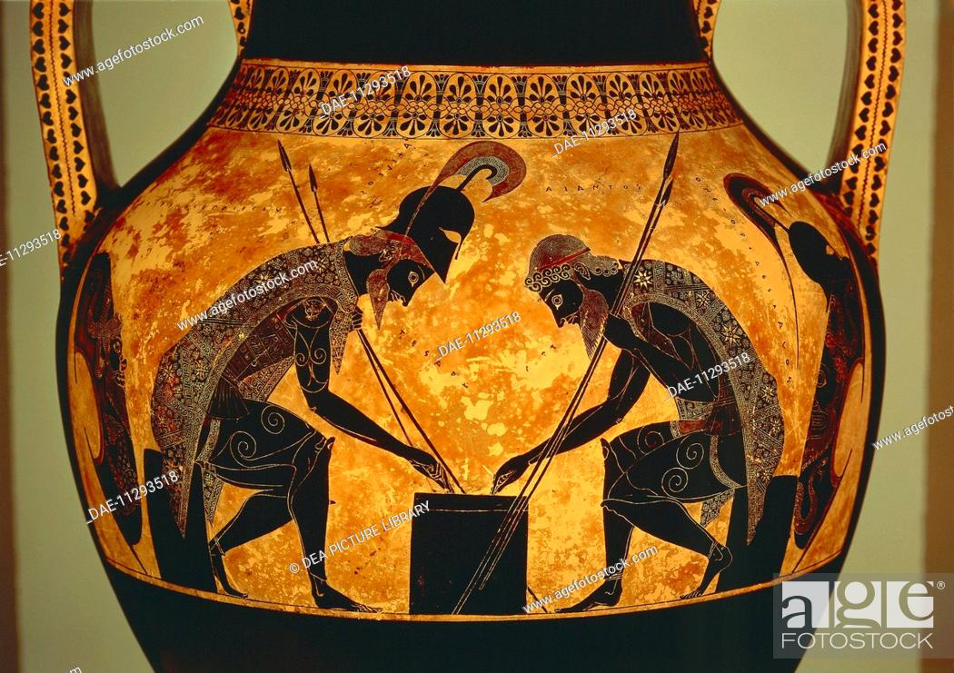 Greek Civilization 6th Century Bc Black Figure Pottery Stock