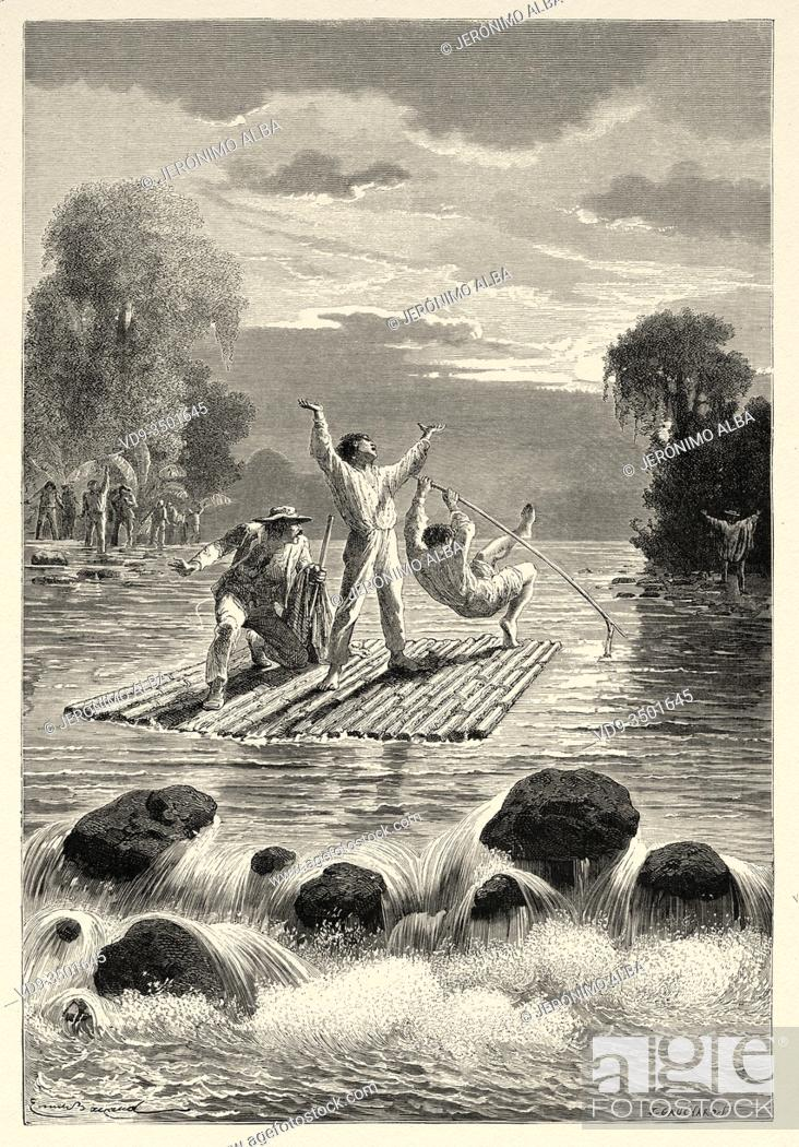 Photo de stock: The Siriniris Indians passing the Ccoñi River, Peru. South America. Trip to the Valley of the Quinas by Paul Marcoy. Old engraving El Mundo en la Mano 1878.