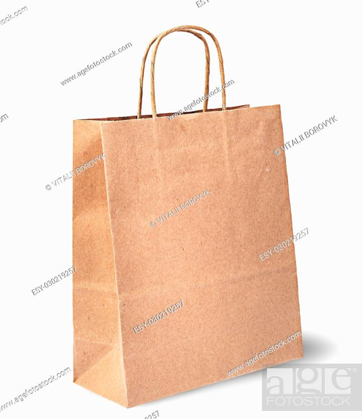 Stock Photo: Empty open brown paper bag for food vertically isolated on white background.