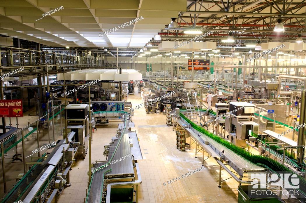 Stock Photo: Pilsner Urquell bottling Plant.
