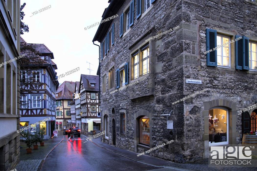 Stock Photo: Characteristic traditional architecture, Haalstrasse, historic part of Schwäbisch Hall, Schwäbisch Hall, Baden-Württemberg, Germany, Europe.