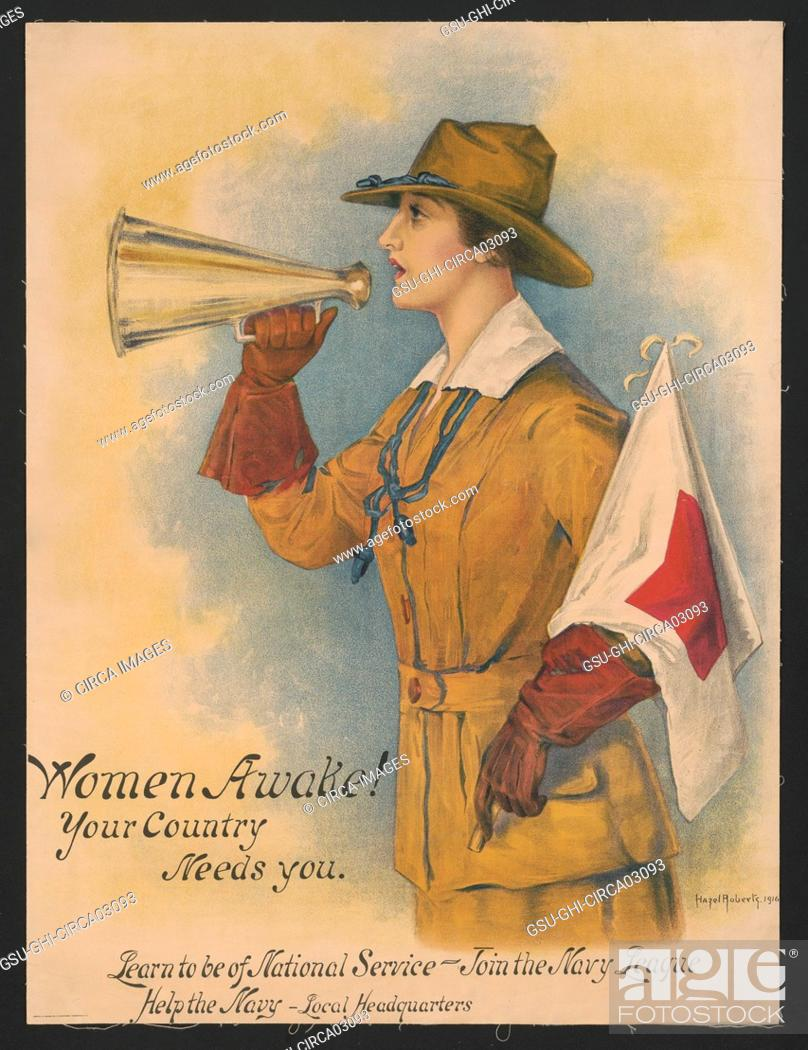 Stock Photo: Woman in Uniform Holding Megaphone and Flag, Women Awake! Your Country Needs You, Learn to be of National Service - Join the Navy League.