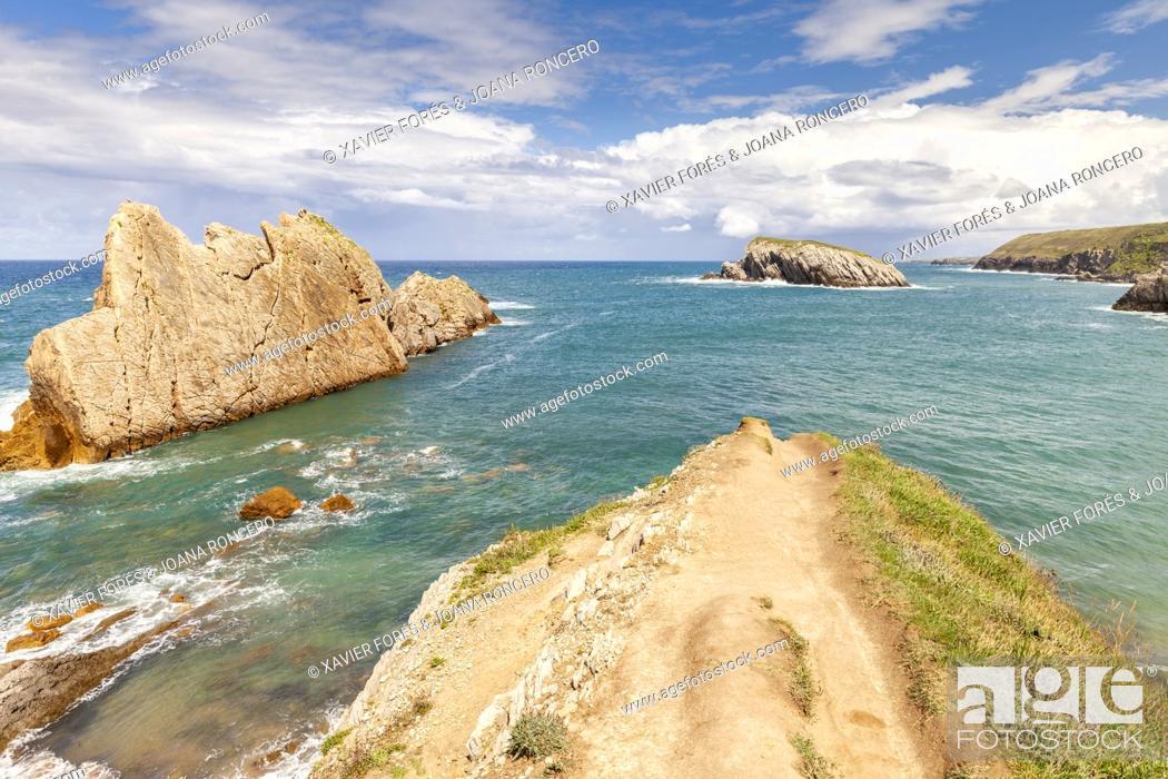 Stock Photo: Arnia Beach, Urros de Liencres and Castro Island, Liencres, Cantabria, Spain.