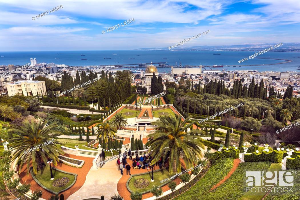 Stock Photo: Bahai Gardens at Mount Carmel in Haifa, Israel, Middle East.