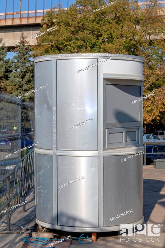 Stock Photo: Temporary Aluminium Tickets Office Small Booth.