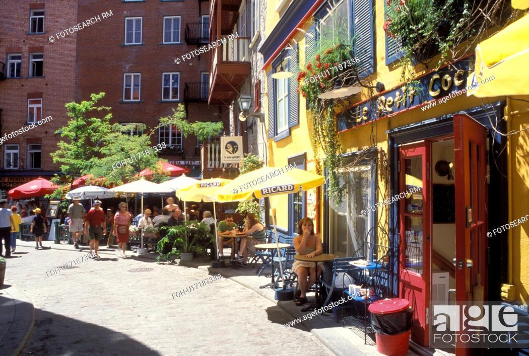Quebec City Quebec Canada Outdoor Caft And Restaurant At Quartier