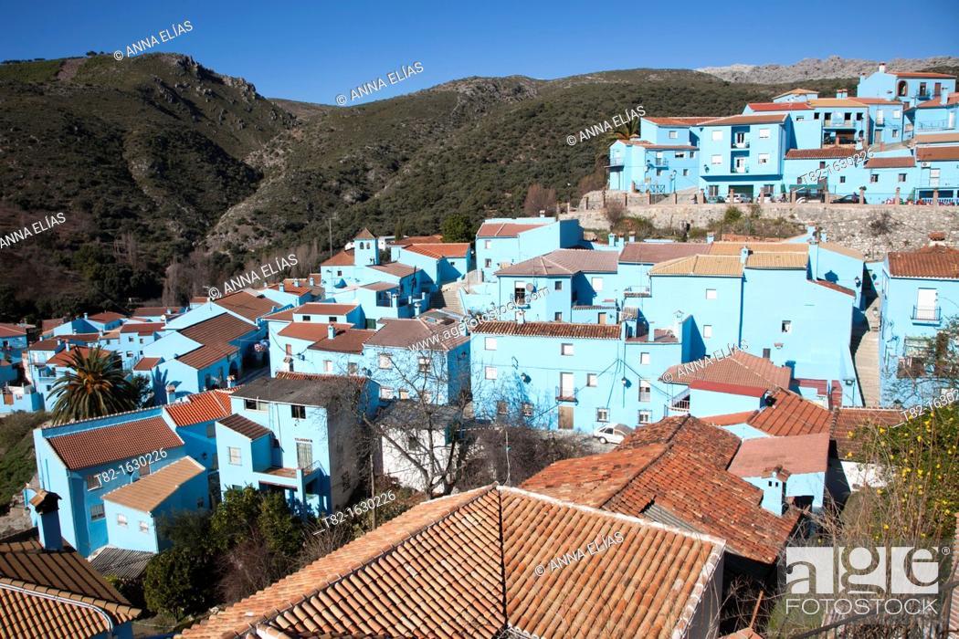Stock Photo: Júzcar, Sierra de Ronda, Malaga, Andalucia, Spain.
