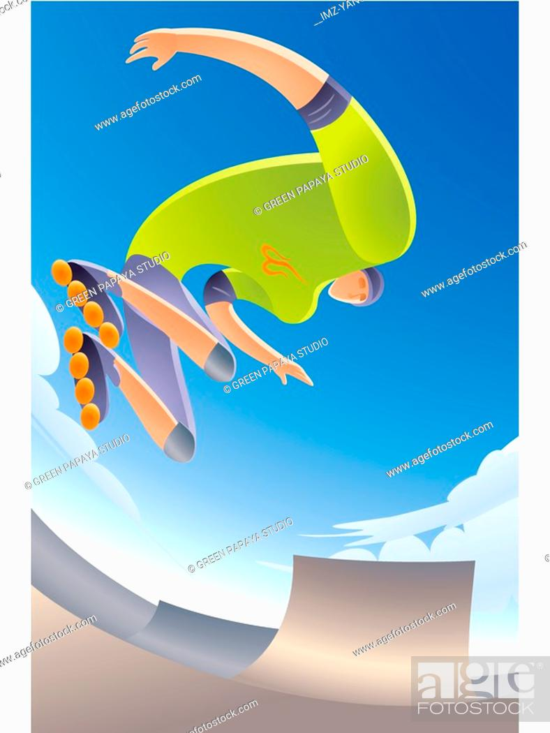 Stock Photo: Illustration of inline skating.