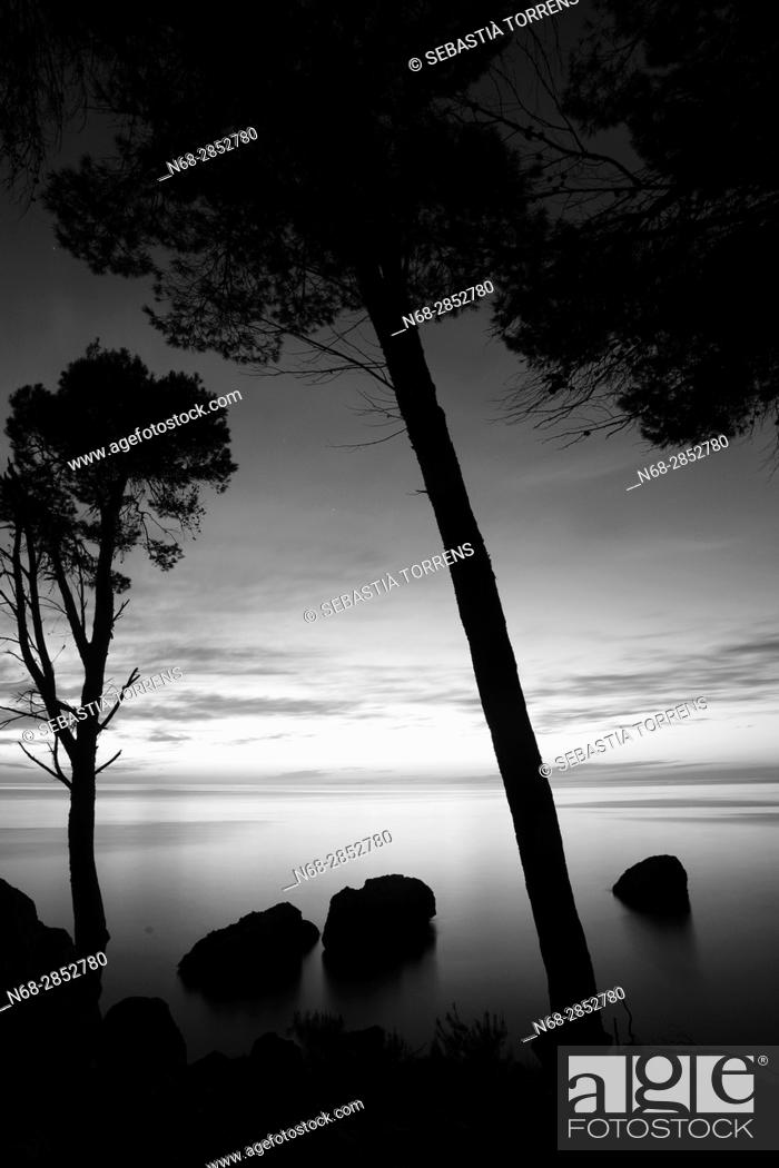 Stock Photo: Sunset on Deia, Majorca, Balearic Islands, Spain.