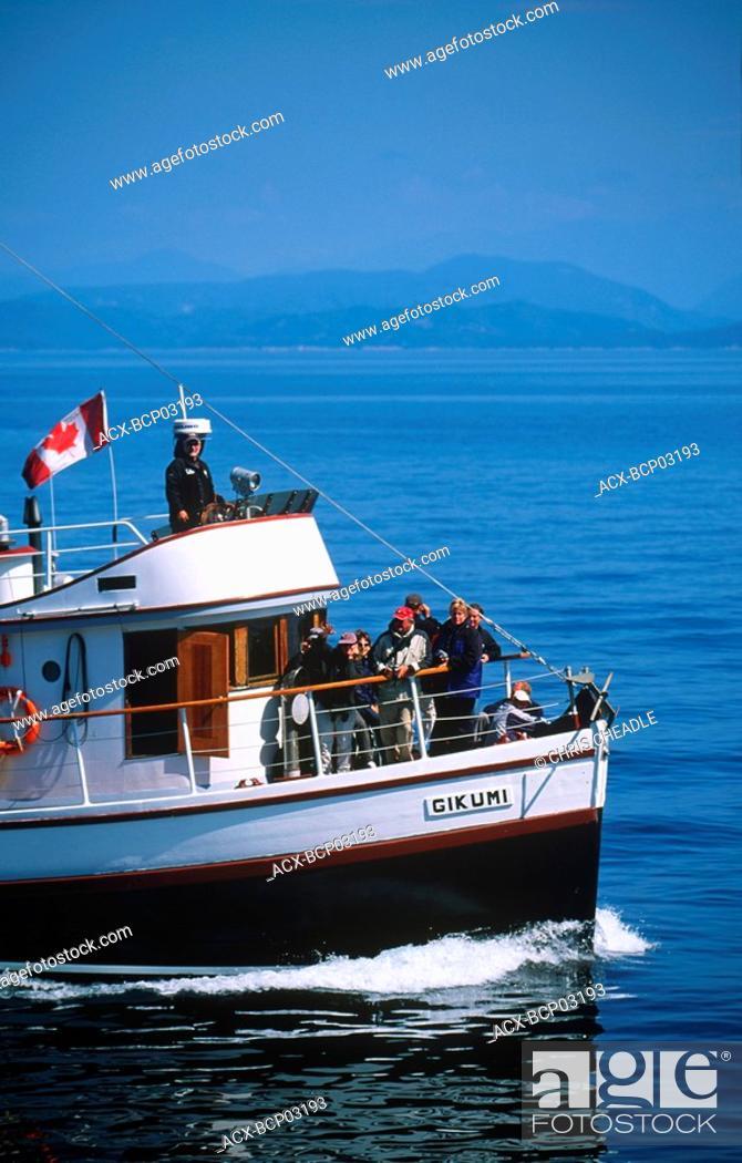 Stock Photo: Telegraph Cove based whale watching / nature tour, boat M V  Gikumi, Vancouver Island, British Columbia, Canada.