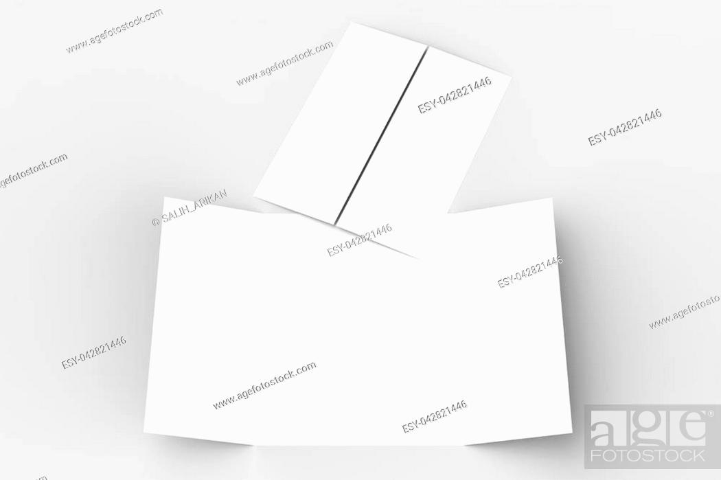 Stock Photo: Double gate fold vertical brochure mock up isolated on soft gray background. 3D illustrating.