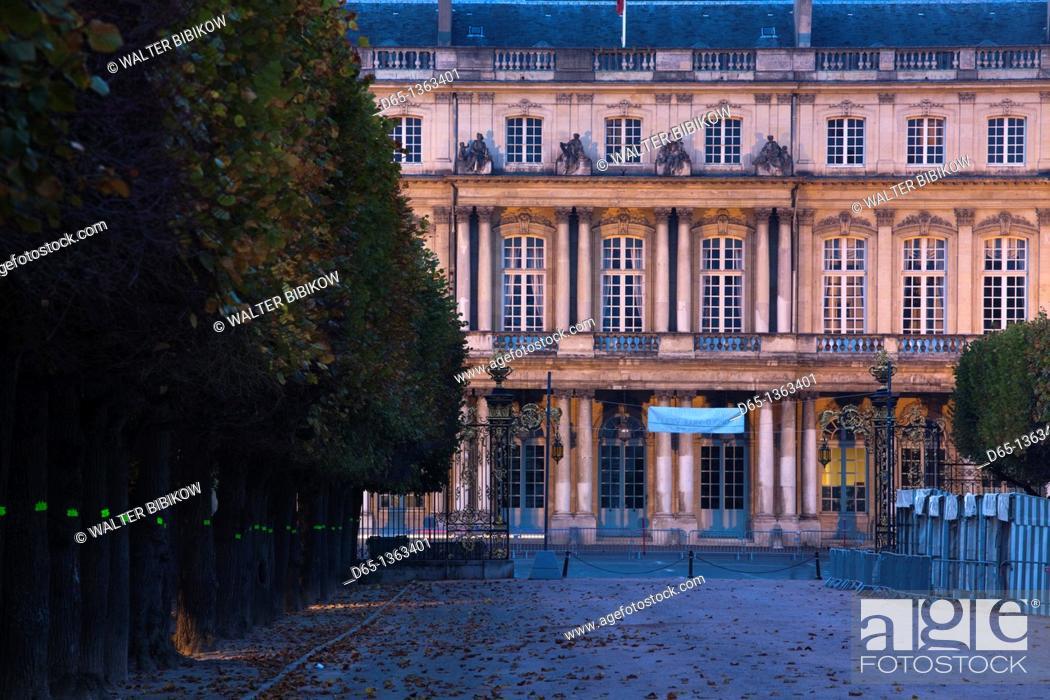 Stock Photo: France, Meurthe-et-Moselle, Lorraine Region, Nancy, Palais du Gouvernement, dusk.