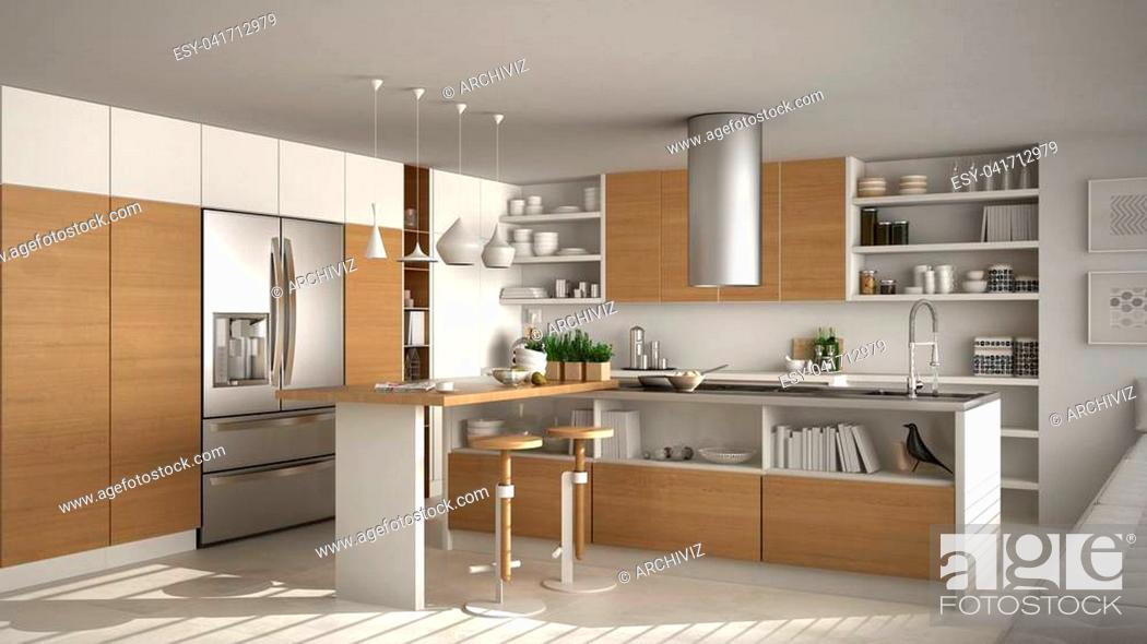 Stock Photo: Modern wooden kitchen with wooden details, white minimalistic interior design.