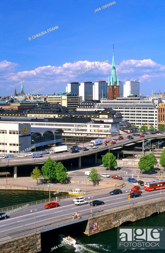 Stock Photo: Sweden, Stockholm, Car, Cars, City, Church, Boat,.