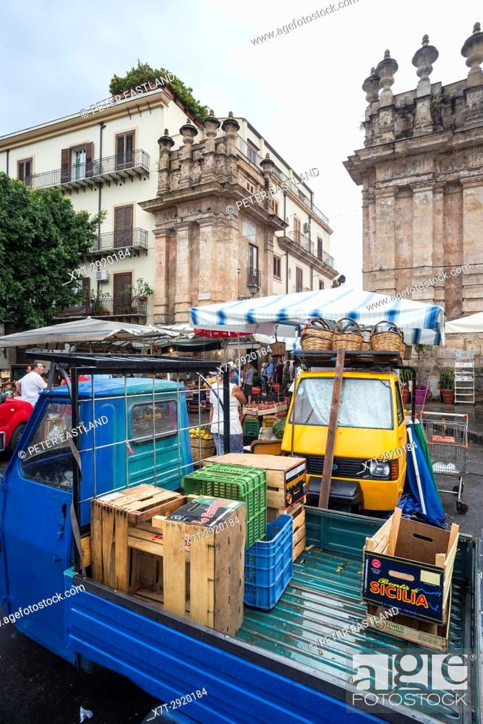 Stock Photo: Piaggios by the entrance to the Capo market at the Porta Carini, central Palermo, Sicily, Italy.