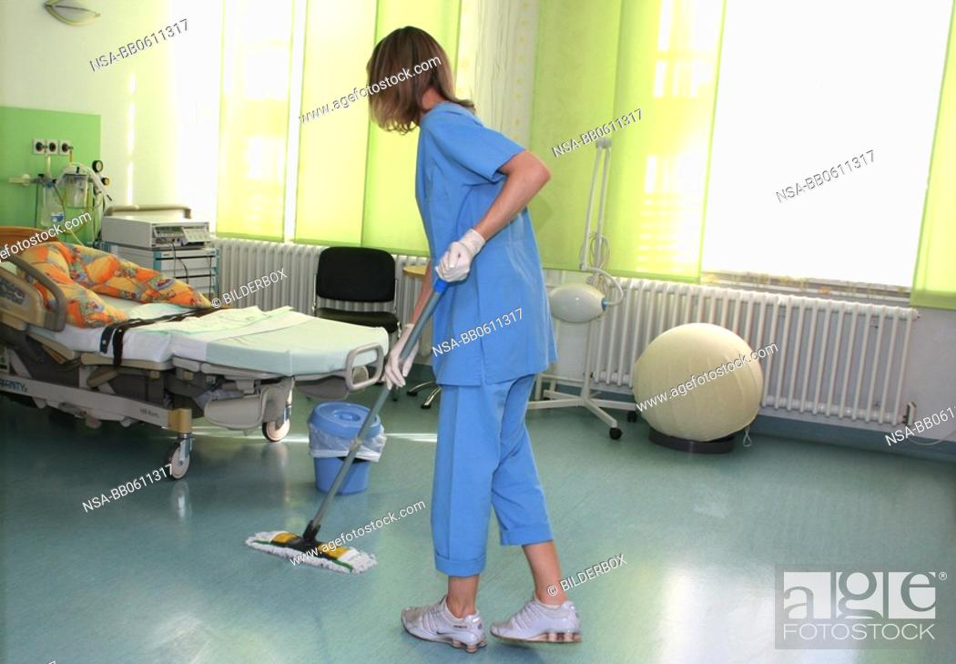 Stock Photo: cleaning of the delivery room.