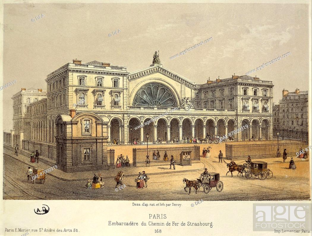 france xix century paris gare de l 39 est 1850 lithography paris stock photo picture and. Black Bedroom Furniture Sets. Home Design Ideas