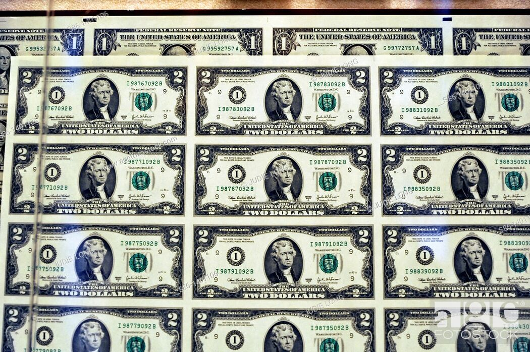 Stock Photo: Uncut $2 Bills in sheet form, for sale at the US Bureau of Engraving and Printing gift shop, Washington, DC.