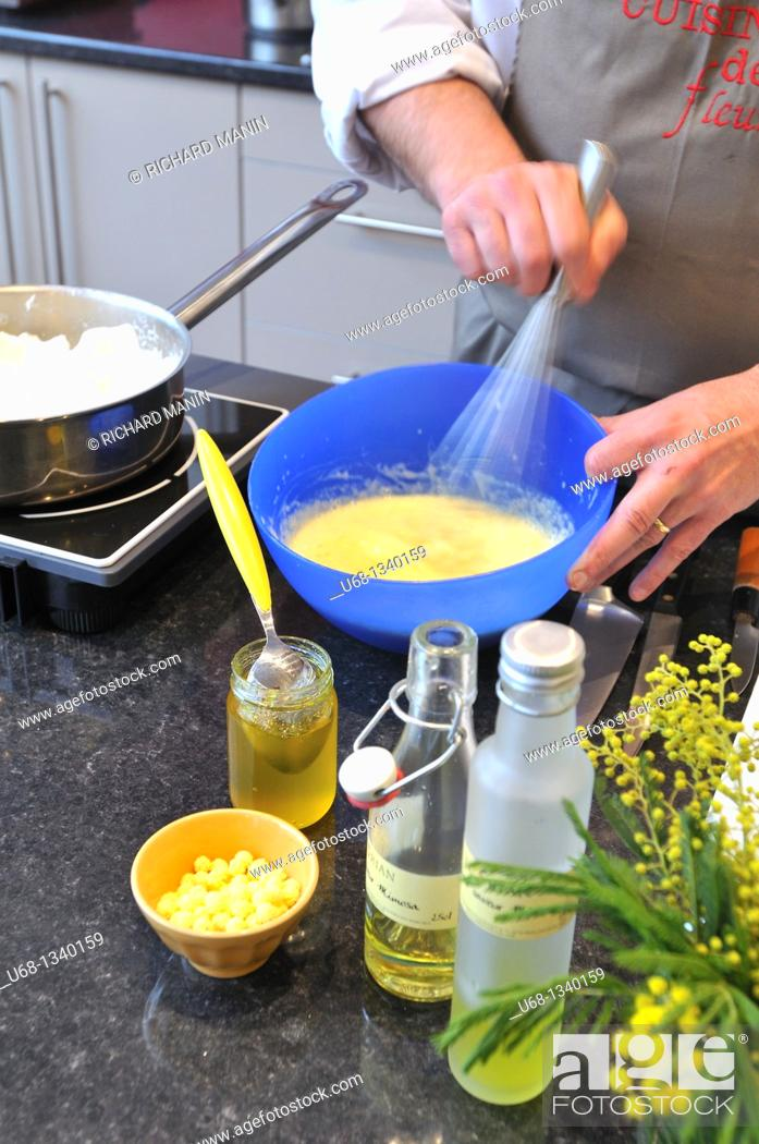 Stock Photo: France, Alpes Maritimes, Pont du Loup village, Chef Yves Terrillon made a cuisine based on mimosa.