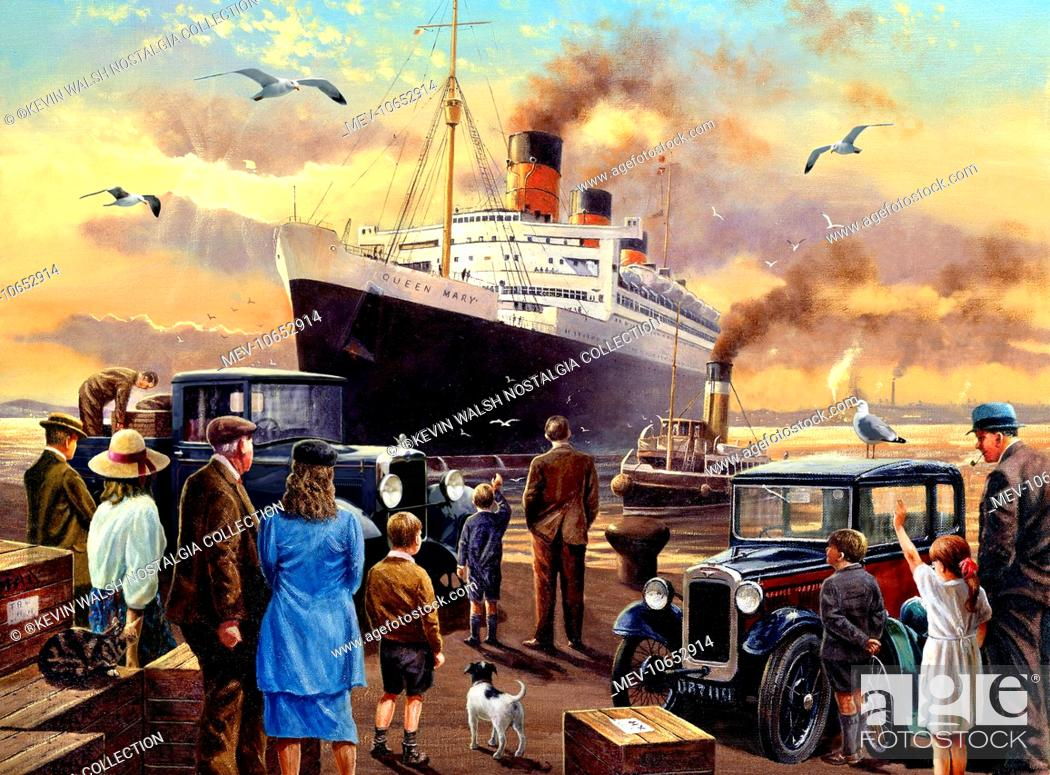 Stock Photo: Send Off For The Queen (Queen Mary cruise liner), with people and an Austin Seven car on the quayside.