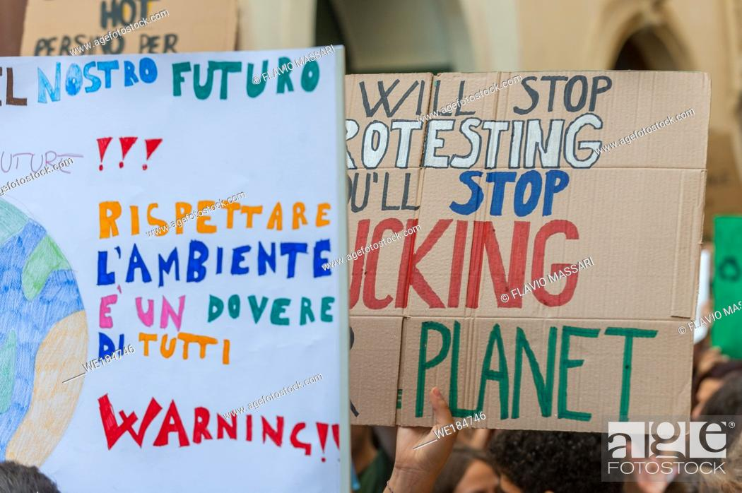 Stock Photo: School strike for climate, Lecce 27 september 2019.