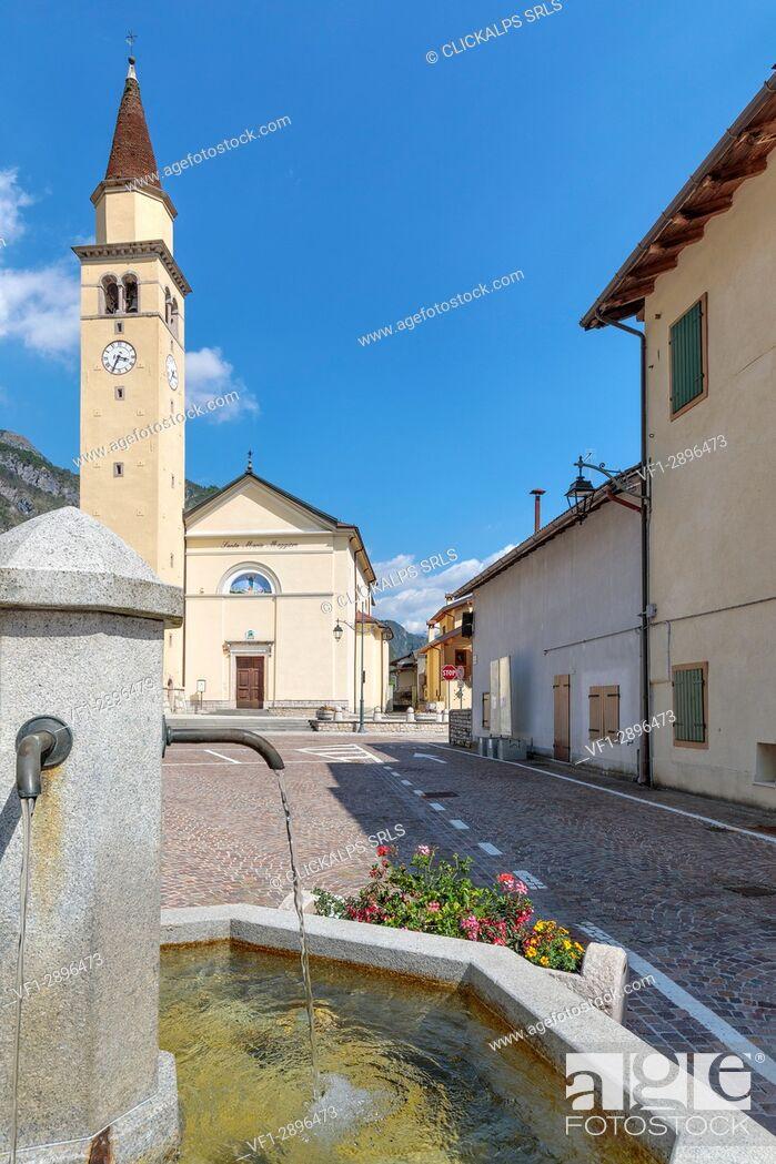 Stock Photo: Parish Church of Santa Maria Maggiore, Cimolais, Valcellina, province of Pordenone, Friuli Venezia Giulia, Italy, Europe.